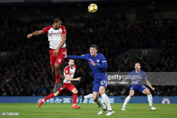 Salomon Rondon of West Bromwich Albion gets above Andreas Christensen of Chelsea during the Premier League match between Chelsea and West Bromwich...