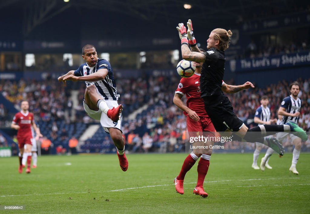 Salomon Rondon of West Bromwich Albion has his shot saved by Loris Karius of Liverpool during the Premier League match between West Bromwich Albion and Liverpool at The Hawthorns on April 21, 2018 in West Bromwich, England.