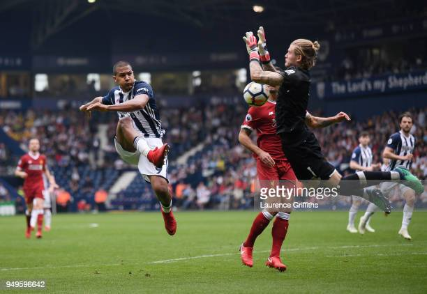 Salomon Rondon of West Bromwich Albion has his shot saved by Loris Karius of Liverpool during the Premier League match between West Bromwich Albion...