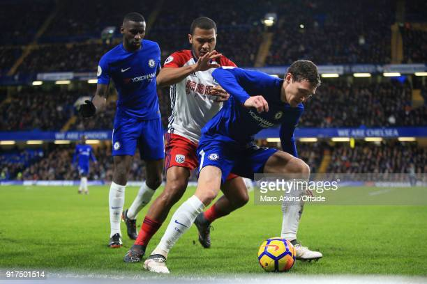 Salomon Rondon of West Bromwich Albion in action with Antonio Rudiger and Andreas Christensen of Chelsea during the Premier League match between...
