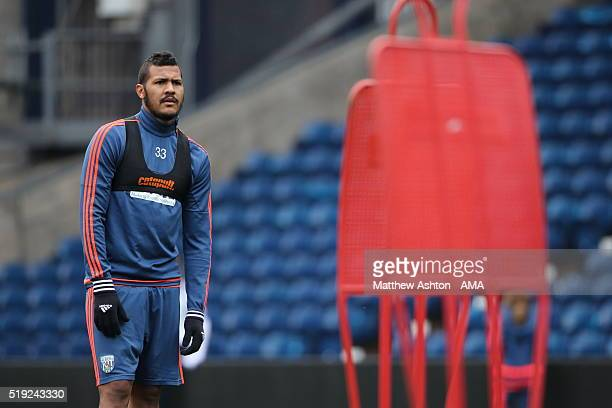 Salomon Rondon of West Bromwich Albion looks on during the West Bromwich Albion Training Session at The Hawthorns on April 5 2016 in West Bromwich...