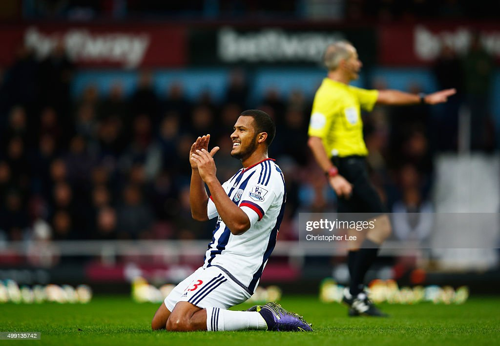 Salomon Rondon of West Bromwich Albion reacts after a miss during the Barclays Premier League match between West Ham United and West Bromwich Albion at Boleyn Ground on November 29, 2015 in London, England.