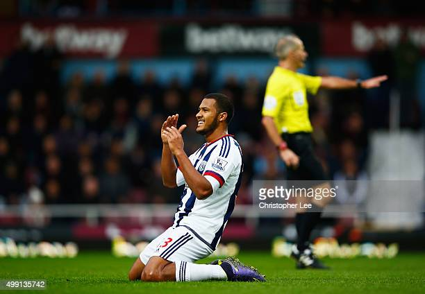 Salomon Rondon of West Bromwich Albion reacts after a miss during the Barclays Premier League match between West Ham United and West Bromwich Albion...