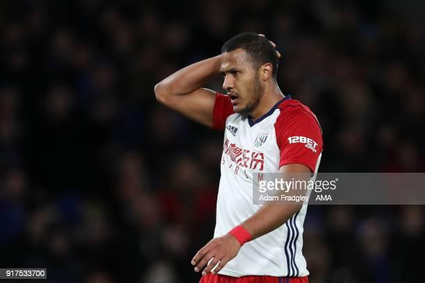 Salomon Rondon of West Bromwich Albion reacts during the Premier League match between Chelsea and West Bromwich Albion at Stamford Bridge on February...