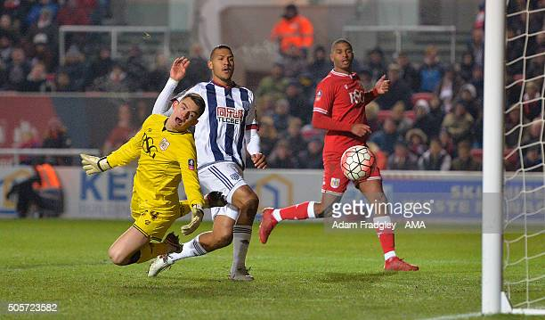 Salomon Rondon of West Bromwich Albion scores a goal past Max OÕLeary of Bristol City to make it 0-1 during the Emirates FA Cup match between Bristol...
