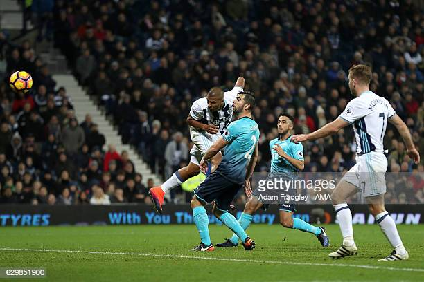 Salomon Rondon of West Bromwich Albion scores a goal to make it 20 during the Premier League match between West Bromwich Albion and Swansea City at...