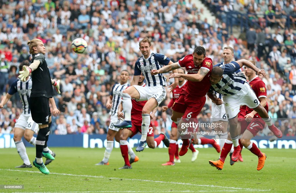 Salomon Rondon of West Bromwich Albion scores a goal to make it 2-2 during the Premier League match between West Bromwich Albion and Liverpool at The Hawthorns on April 22, 2018 in West Bromwich, England.