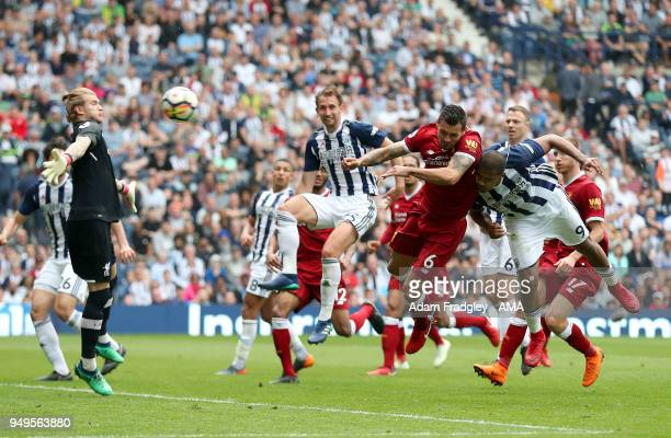 Salomon Rondon of West Bromwich Albion scores a goal to make it 22 during the Premier League match between West Bromwich Albion and Liverpool at The...