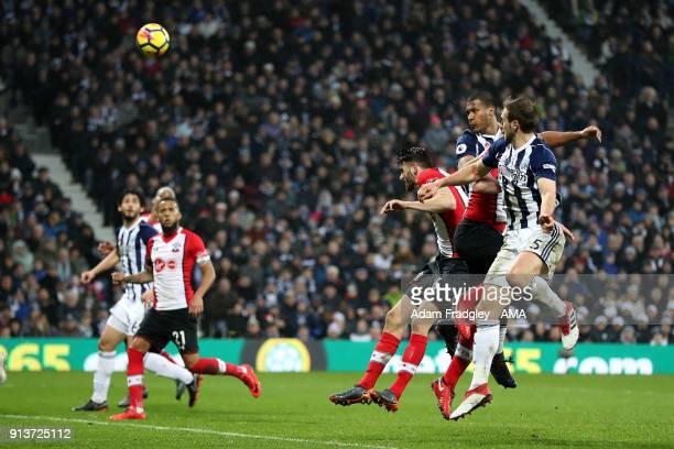 Salomon Rondon of West Bromwich Albion scores a goal to make it 23 during the Premier League match between West Bromwich Albion and Southampton at...