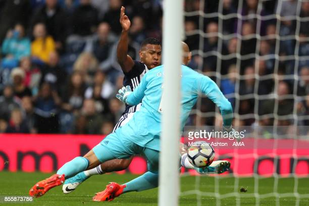 Salomon Rondon of West Bromwich Albion scores a goal to make the score 10 during the Premier League match between West Bromwich Albion and Watford at...