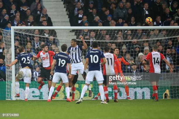 Salomon Rondon of West Bromwich Albion scores their 2nd goal during the Premier League match between West Bromwich Albion and Southampton at The...