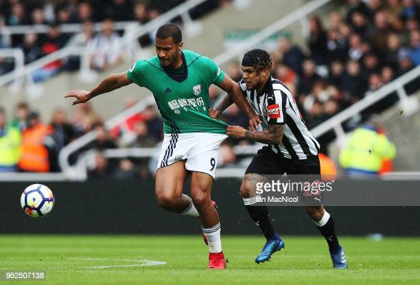 Salomon Rondon of West Bromwich Albion vies with DeAndre Yedlin of Newcastle Unitedduring the Premier League match between Newcastle United and West...