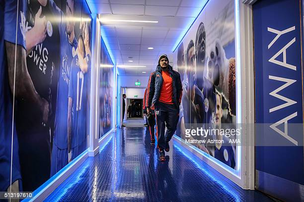 Salomon Rondon of West Bromwich Albion walks down the tunnel at Leicester City as the team arrives before the Barclays Premier League match between...