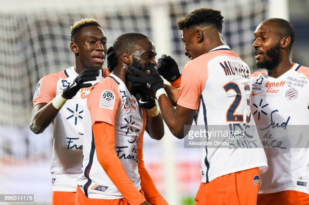 Salomon Sambia Jonathan Ikone Nordi Mukiele and Jonathan Ikone of Montpellier celebrate during the Ligue 1 match between FC Girondins de Bordeaux and...