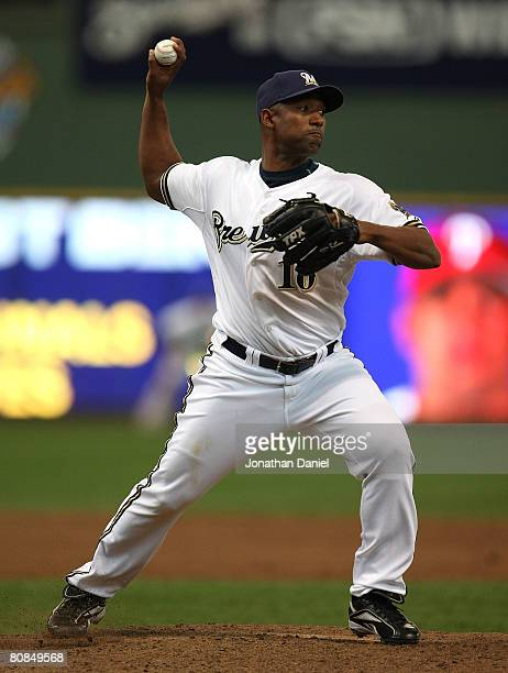 Salomon Torres of the Milwaukee Brewers fires a throw to first base to check a Philadelphia Phillie runner in the 9th inning on April 24, 2008 at...