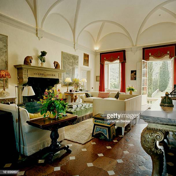 A salon newly refurbished by designer Camilla Guinness is photographed for Vanity Fair Magazine on May 11 2012 at Villa Cetinale in Siena Italy...