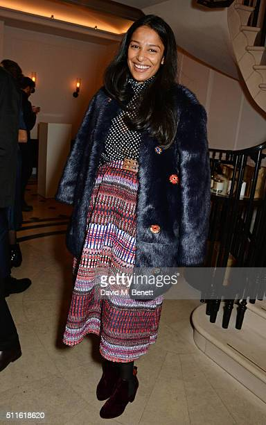 Saloni Lodha attends as mytheresacom and Burberry celebrate the new MYT Woman at Thomas's on February 21 2016 in London England