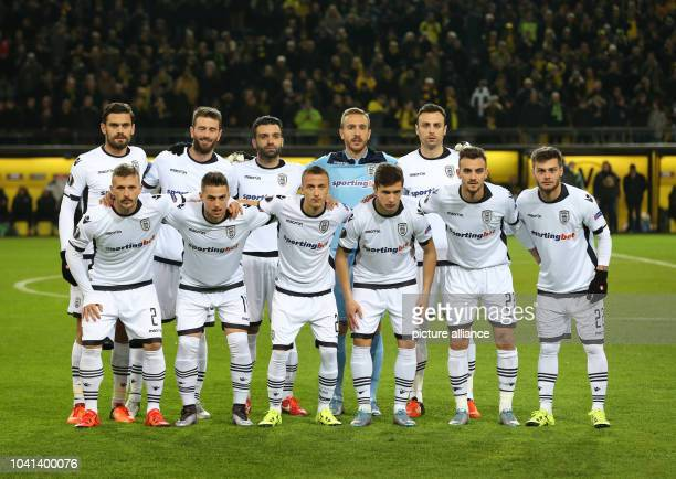 Saloniki's players pose for a team picture prior to the Europa League group C soccer match Borussia Dortmund vs PAOK Saloniki in Dortmund Germany 10...