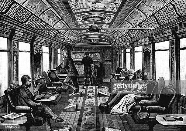 Saloon car on the Orient Express Wood engraving published Leipzig c1895