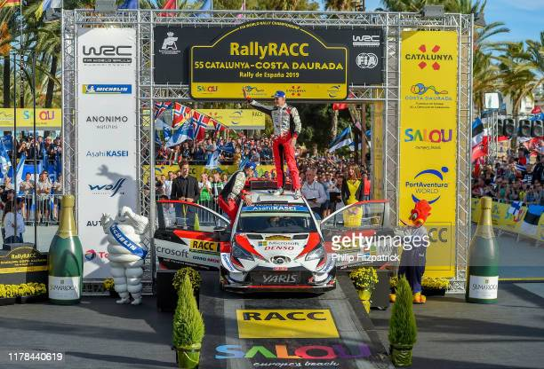 Salou Spain 27 October 2019 Ott Tänak and Martin Järveoja celebrate with the team after winning the world rally championship during Round 13 of the...