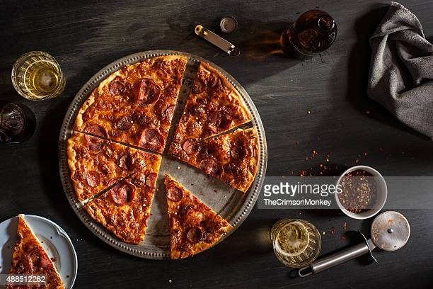 salpicao and chourico pizza - pepperoni pizza stock photos and pictures
