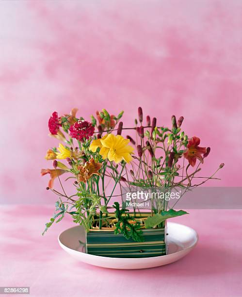 Salpiglossis and burnet in new zealand flax vase