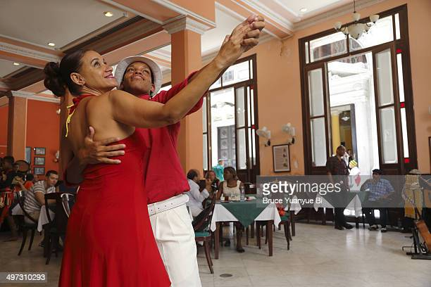 salsa dancers performing in a local restaurant - havana stock pictures, royalty-free photos & images