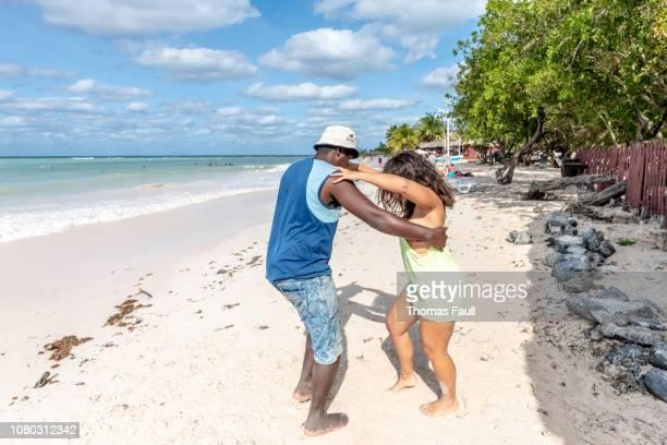salsa dancing on cayo jutias beach in cuba - pinar del rio stock photos and pictures