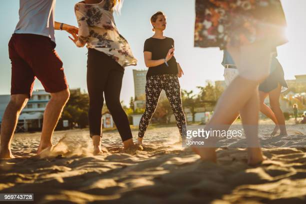 salsa party on the beach - salsa dancing stock photos and pictures