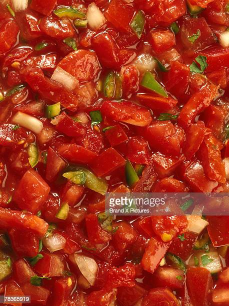 salsa with vegetables - salsa sauce stock photos and pictures