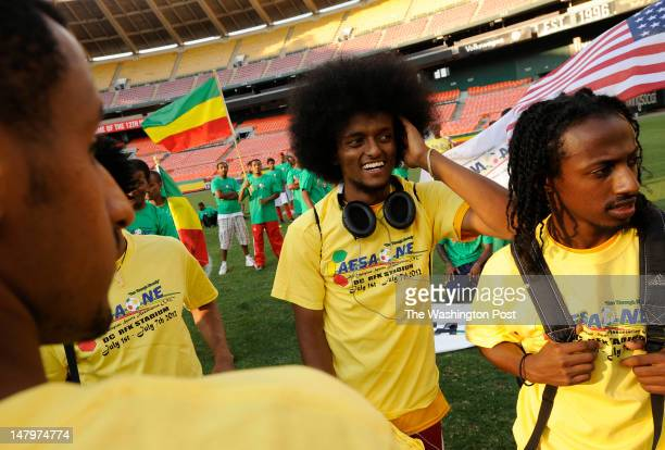 Salsawi Kebede, left to right, Robel Desta, and Mubarak Mohamed of the DC Ethio-Stars Football Club are seen during the AESAOne 2012 soccer...