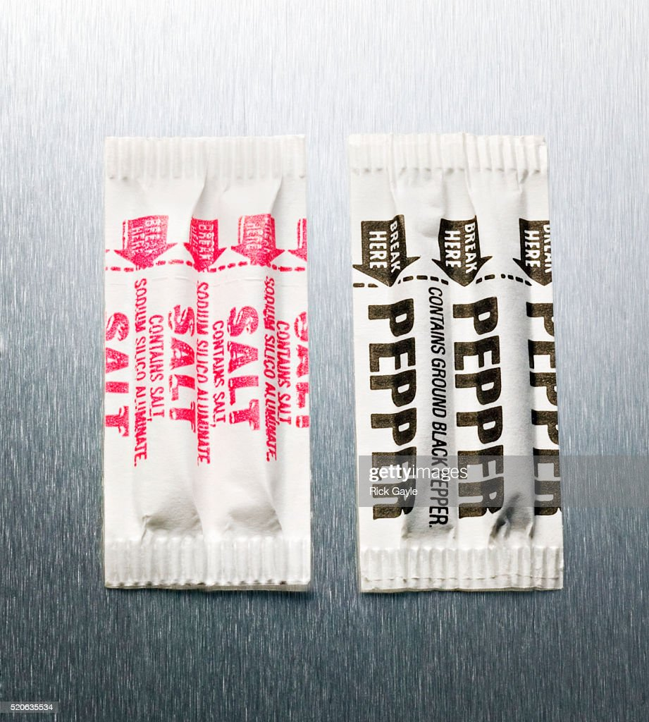 Salt and Pepper Packets : Stock Photo