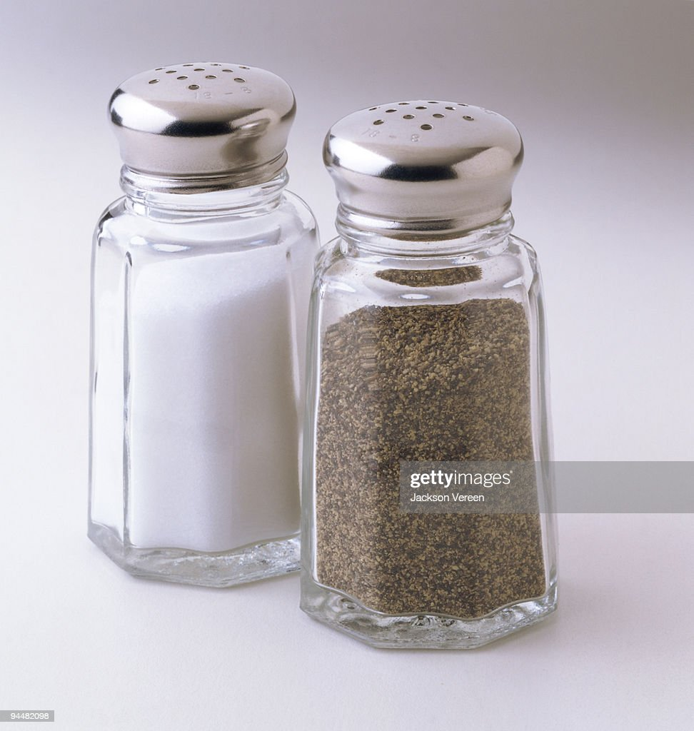 Salt and pepper shakers : Stock Photo