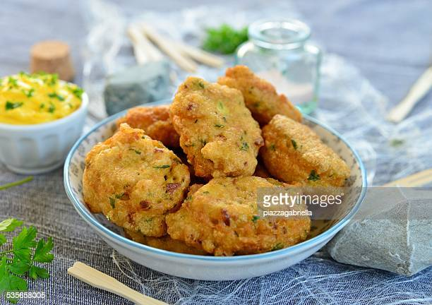 salt cod fritters with aioli - fritter stock photos and pictures