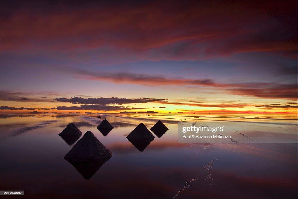 Salt Cones At Sunset On The Salar De Uyuni High Res Stock