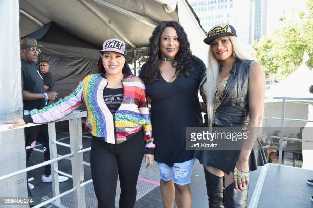 Salt DJ Spinderella and Pepa of SaltnPepa perform on the Colossal Stage during Clusterfest at Civic Center Plaza and The Bill Graham Civic Auditorium...