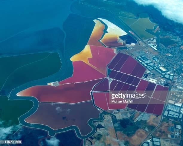 salt evaporation pond 2 - ソルトポンド ストックフォトと画像