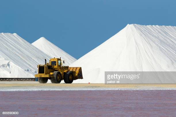 Salt flat and mount and a bulldozer