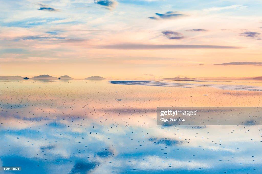 Salt Flat Salar De Uyuni At Sunset Bolivia Stock Photo
