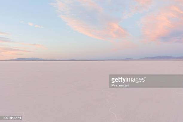 salt flats at dawn under a cloudy sky - horizon over land stock photos and pictures