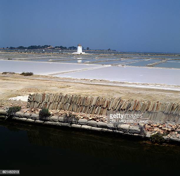 Salt flats in the Nature Reserve of the Stagnone Islands of Marsala Sicily Italy