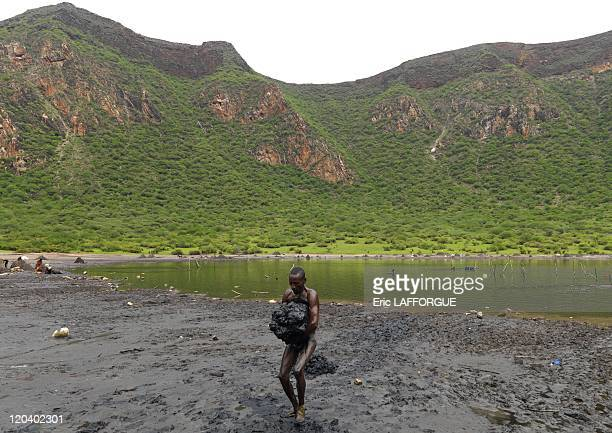 Salt in El Sod volcano in Ethiopia on October 21 2008 El Sod in South Omo Valley is a former volcano with only a crater lake remaining now It takes...