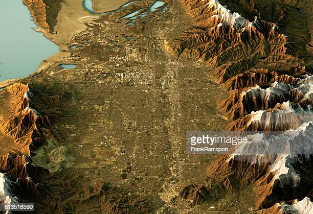 salt lake city 3d landscape view south-north natural color - salt lake city utah stock photos and pictures