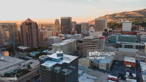 salt lake city aerial view at sunset - salt lake city stock pictures, royalty-free photos & images