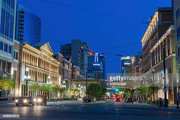 salt lake city downtown lights at night utah - salt lake city utah stock photos and pictures
