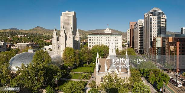 salt lake city mormon tabernacle temple square utah - salt lake city utah stock photos and pictures
