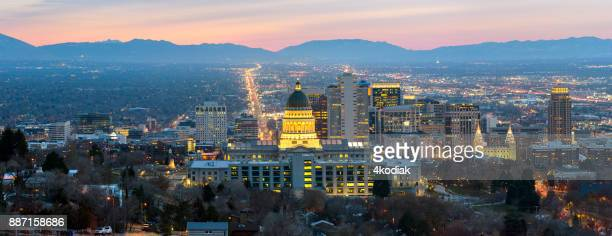 salt lake city panorama at dawn - salt lake city utah stock photos and pictures