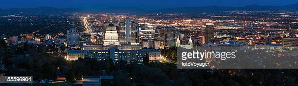 salt lake city panorama illuminated at night utah - salt lake city utah stock photos and pictures