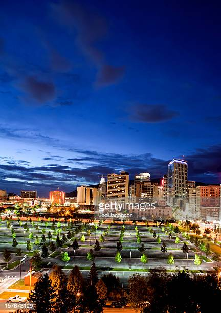 salt lake city skyline golden hour - salt lake city utah stock photos and pictures