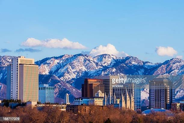 salt lake city skyline in early spring with copy space - salt lake city utah stock photos and pictures